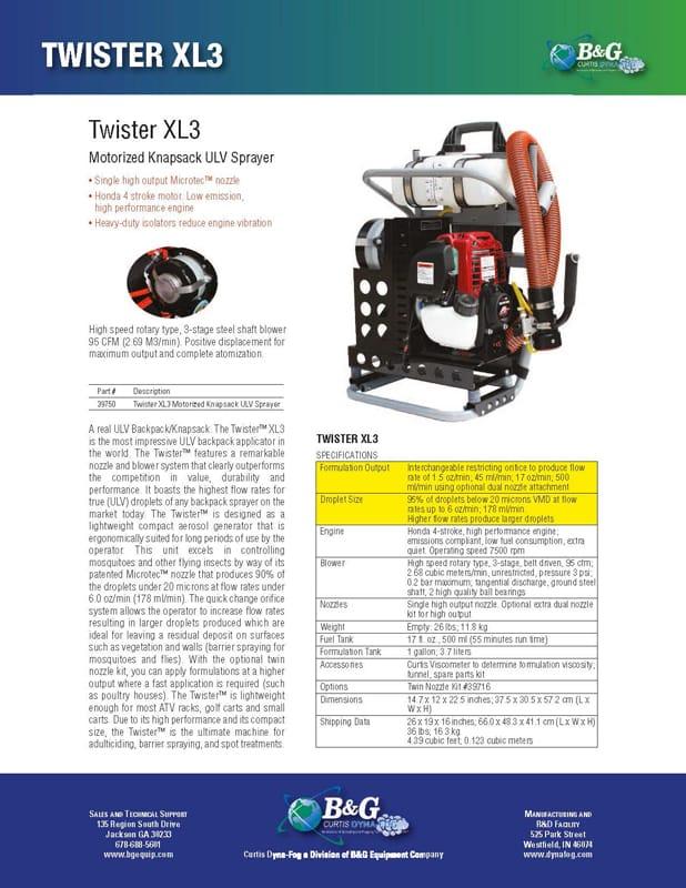 Twister XL3 Sales Sheet