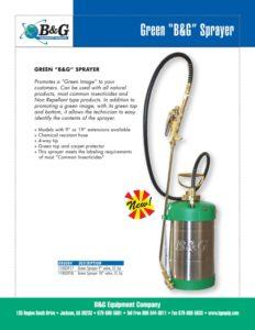 Green Sprayer Sales Sheet