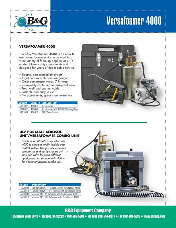Versafoamer 4000 Sales Sheet